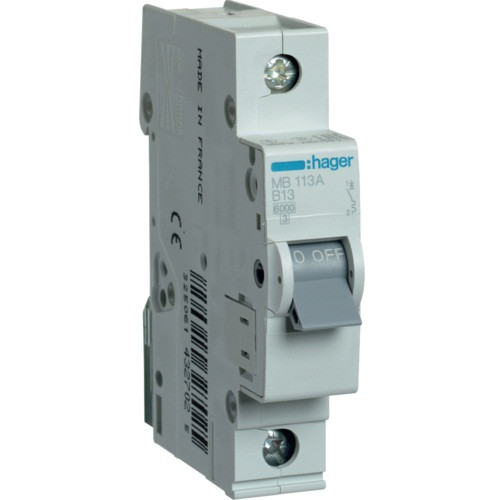 Автоматический выключатель Hager MB113A. Iн=13А, хар-ка B