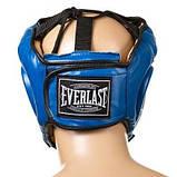 Боксерский шлем закрытый Everlast S синий SKL11-280862, фото 2