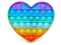 Pop It (поп ит) сенсорная игрушка антистресс, радужный сердце, фото 1