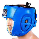 Боксерський шолом шкіряний Everlast S синій SKL11-280899, фото 3