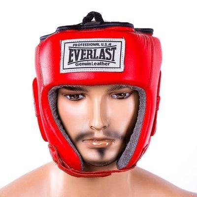 Боксерський шолом шкіряний Everlast XL червоний SKL11-280900