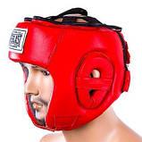Боксерський шолом шкіряний Everlast XL червоний SKL11-280900, фото 2