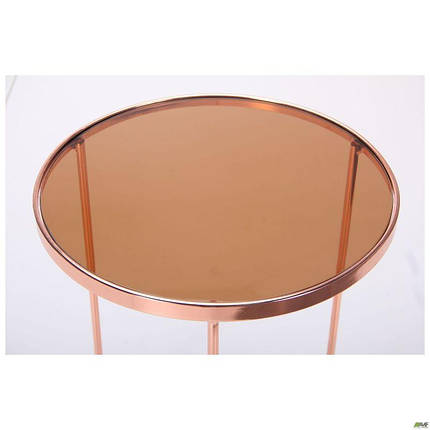 Стіл журнальний Kalibri, rose gold, glass top, фото 2
