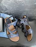 Мужские сандалии кожаные летние синие, фото 3