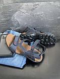 Мужские сандалии кожаные летние синие, фото 4