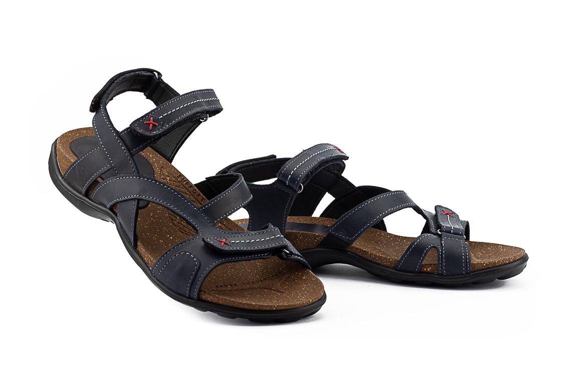 Мужские сандалии кожаные летние синие