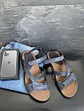 Мужские сандалии кожаные летние синие, фото 6