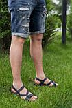 Мужские сандалии кожаные летние синие, фото 7