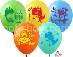 """Латексные шары SHOW Динозавры  на ассорти 12"""" 30см, 10 шт"""