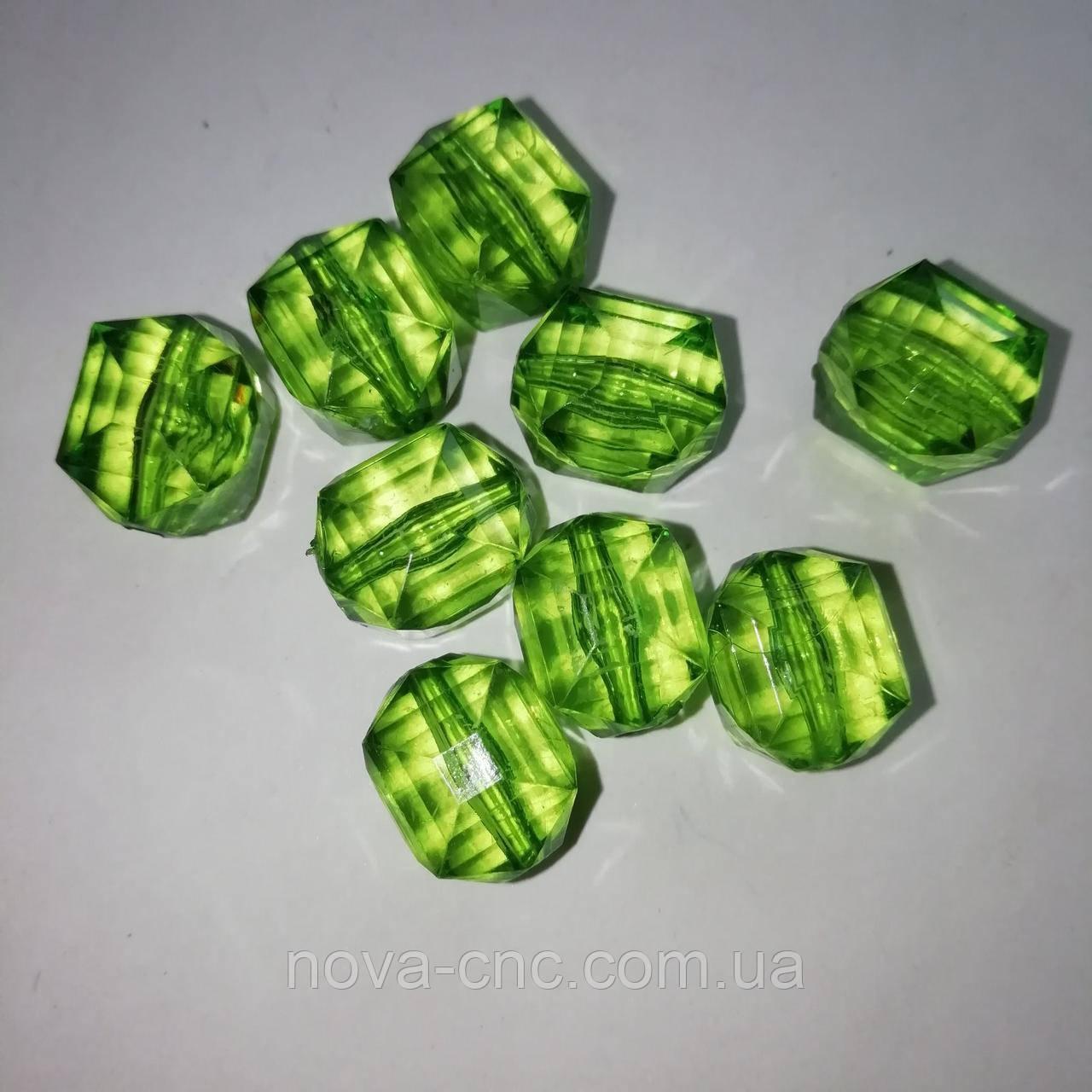"Намистини акрил ""Бочонок"" зелений 14 х 11 мм 500 грам"