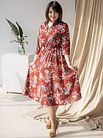 Шикарное платье с цветочным принтом бордовое 50, 52, 54