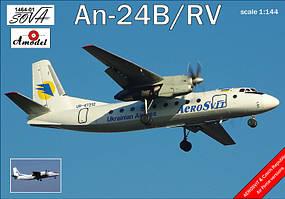 Сборная модель пассажирского авиалайнера Антонов Ан-24Б/РВ ПОЛЬША / ГДР1/144 AMODEL 1464-01