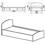 Односпальная кровать Нежность 90 МДФ, фото 7