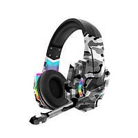 Наушники для ПК Kаrler M9600 RGB. Проводная гарнитура с микрофоном Kарлер M9600 RGB в армейском стиле