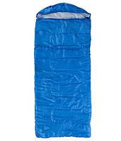 Спальний мішок-ковдра з капюшоном WORLD SPORT Спальник похідний туристичний теплий Синій (S1007)