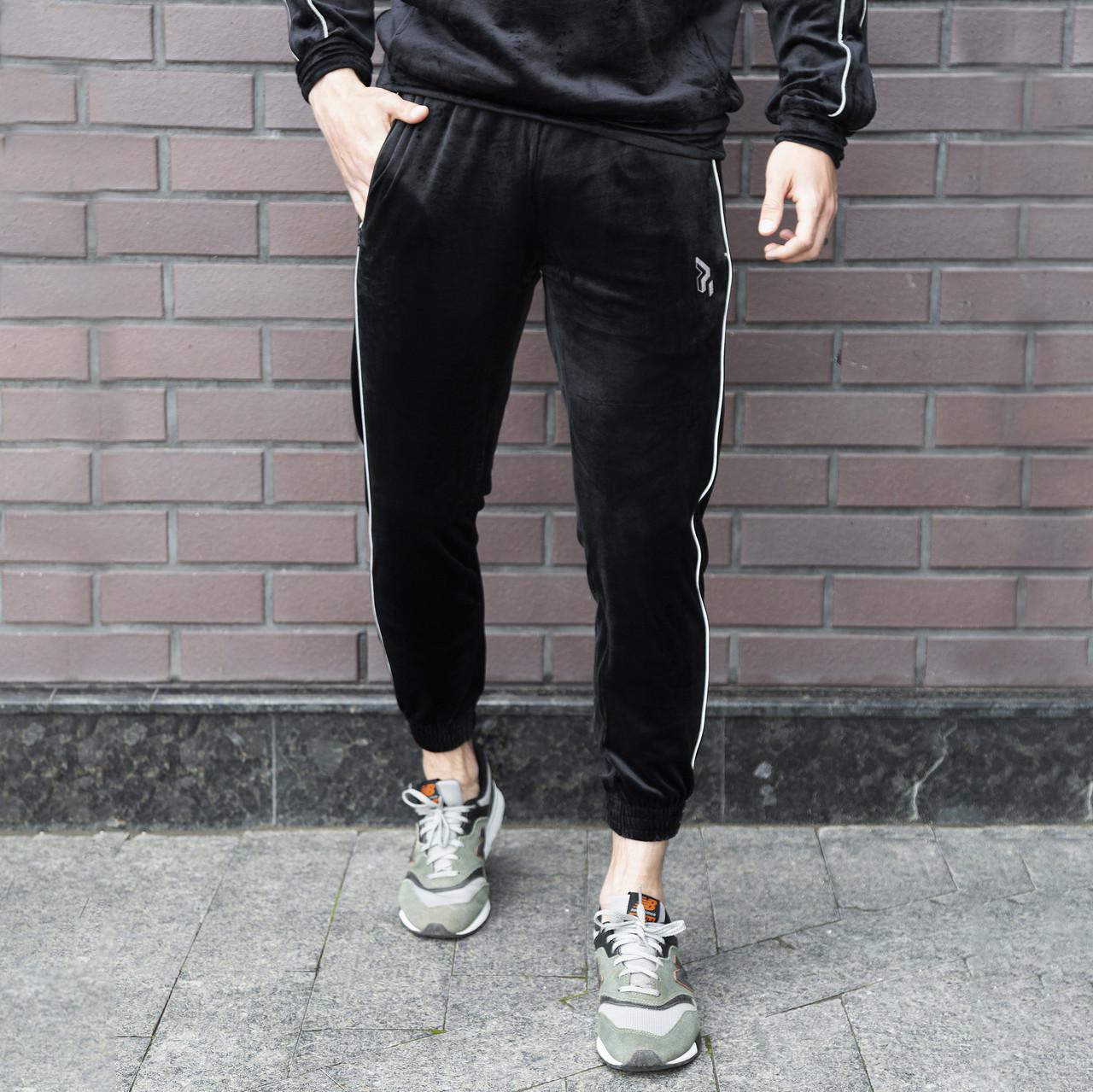 Спортивные штаны велюровые Огонь Пушка Flat черные