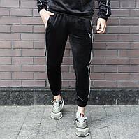 Спортивные штаны велюровые Огонь Пушка Flat черные, фото 1
