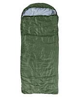 Спальний мішок-ковдра з капюшоном WORLD SPORT Спальник похідний туристичний теплий Зелений (S1007)