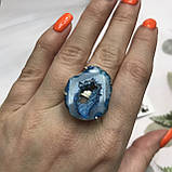 Агат 19 р. агатовая жеода кольцо с камнем жеода агата в серебре Индия, фото 4