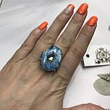 Агат 19 р. агатовая жеода кольцо с камнем жеода агата в серебре Индия, фото 2