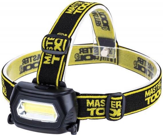 Ліхтар налобний з регулюванням нахилу Mastertool 3 режими, 75 х 46 х 29 мм, COB LED, 3 x AAA, ABS (94-0810), фото 2