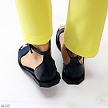 Босоніжки жіночі чорні / сині натуральна шкіра пітон, фото 4