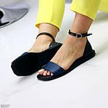 Босоніжки жіночі чорні / сині натуральна шкіра пітон, фото 5