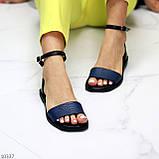 Босоніжки жіночі чорні / сині натуральна шкіра пітон, фото 7