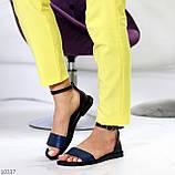 Босоніжки жіночі чорні / сині натуральна шкіра пітон, фото 8