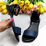 Босоніжки жіночі чорні / сині натуральна шкіра пітон, фото 10