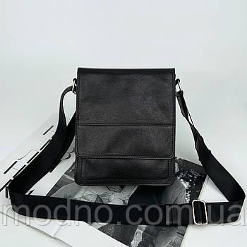 Чоловіча шкіряна сумка на та через плече ручної роботи чорна