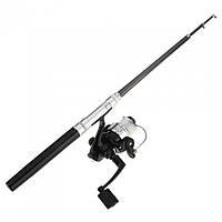 Карманная мини-удочка в боксе Pocket Pen Fishing Rod + катушка Чёрная