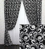 Шторы (2шт. 1.5х2.7м.) из ткани блэкаут-софт. Цвет чёрный с серым. Код 694ш 30-487, фото 1