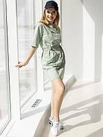 Фисташковое платье с кулиской по талии  42-44