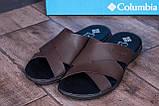 Мужские кожаные  летние шлепанцы-сланцы  Columbia  Brown, фото 8