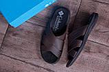 Мужские кожаные  летние шлепанцы-сланцы  Columbia  Brown, фото 10