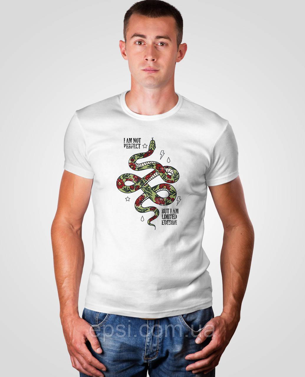 Футболка мужская с принтом Malta 18М063-17-Р Snake M 1 XL Белая (2901000181097)