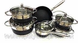 Набір посуду з нержавіючої сталі Benson BN-293 12 предметів Чорний (500031)