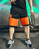 """Шорты мужские молодежные casual """"Корт"""" черные с оранжевым"""
