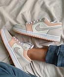 Жіночі кросівки Nike Jordan 1 Retro Low Beige/Pink, фото 3