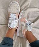 Женские кроссовки Nike  Jordan 1 Retro Low Beige/Pink, фото 5