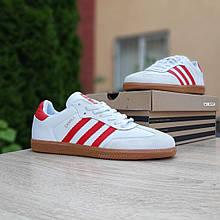 Мужские кроссовки Adidas Samba Белые с красным