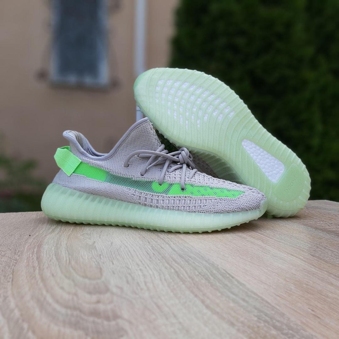 Жіночі кросівки Adidas Yeezy Boost 350 V2 Сірі з салатовим