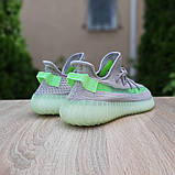 Жіночі кросівки Adidas Yeezy Boost 350 V2 Сірі з салатовим, фото 5