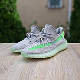 Жіночі кросівки Adidas Yeezy Boost 350 V2 Сірі з салатовим, фото 6