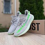 Жіночі кросівки Adidas Yeezy Boost 350 V2 Сірі з салатовим, фото 8
