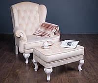 """Классическое мягкое кресло """"Вальтер"""" и пуф, каминное кресло"""