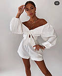 Льняной костюм женский с топом и шортами, фото 2