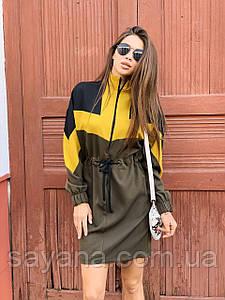 Женское спортивное платье с кулисой на талии в ярких расцветках. НП-9-0521