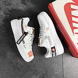 Чоловічі кросівки Nike Air Force 1 Just Do It білі з чорним, фото 3